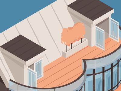 Beach House Illustration pastel color villa boat summer house beach 3d vector isometric illustration