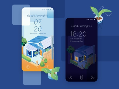 Lock Screen screen home architecture concept design plants mobile ui time house night day uidesign 2d 2disometric design building vector isometric illustration