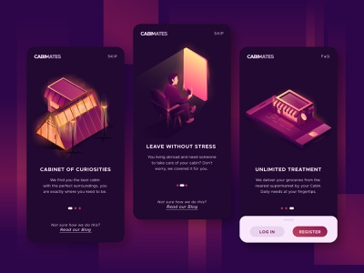 CABIMATES - find your wunderkammern exploration onboarding ui purple night cabin onboarding illustration onboarding screen onboarding ui interior building gradient vector isometric illustration