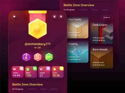 Battlezone Overview Game GUI battlefield ava profile overview gui game art battlezone battle game icons design ui vector gradient illustration