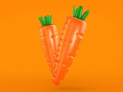 Carrot greyscalegorilla eat your greens orange c4d 3d carrot