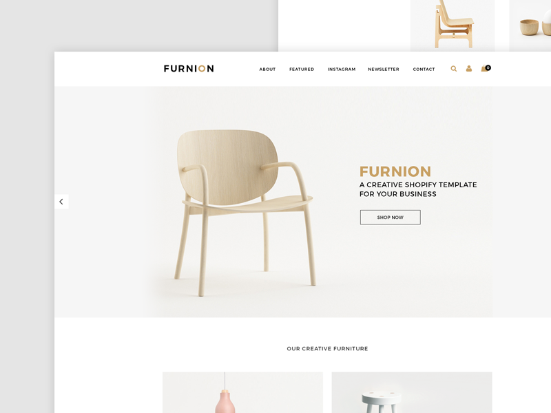 Furnion Shopify store design Free PSD goldcolor landingapag funiture shopify