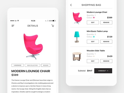 E-commerce UI Design uidesign design app ecommerce business shoppingbag shoppingcart shop ux ui