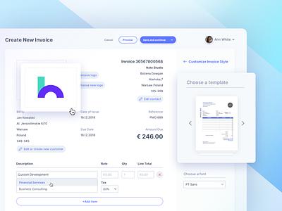 New Invoice InNinja business vector clean ux uidesign design