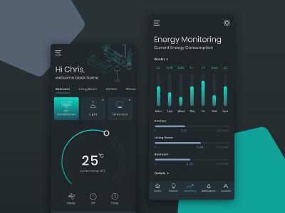 Smart Home App IoT business design darkmode dark clean monitoring mobile dashboard uiux app iot