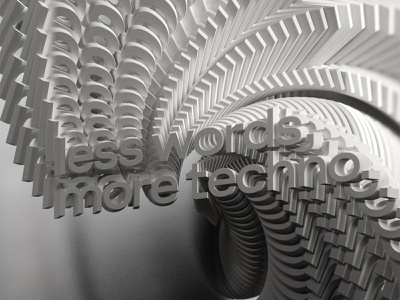 Less Words More Techno typography adobe after effects motion kinetictypography kinetictype c4d cinema4d behance animation