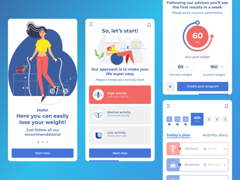 Hudoeshka App red blue ux ui modern figma wellbeing wellness fitness app fitness app