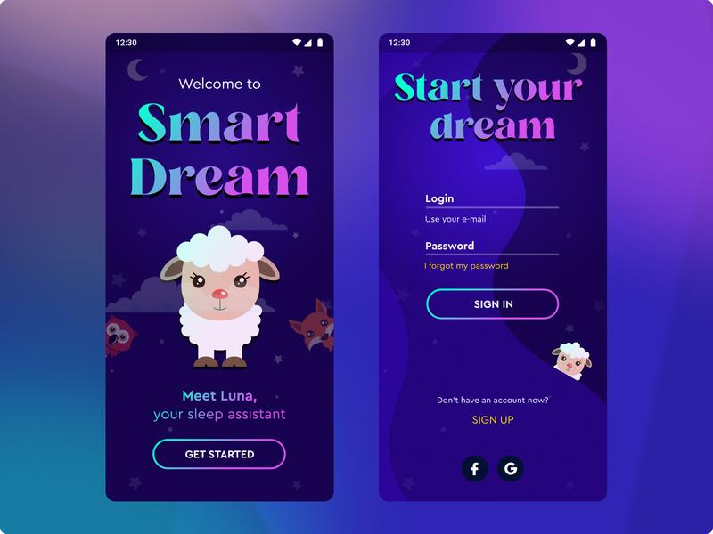 Smart Dream App Concept Design uiux dark app design cute concept clean app dribbble black calm blue ux ui design