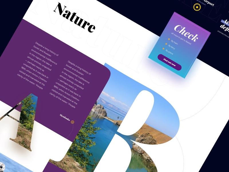 Baikal Lake Tour Web Site Concept dribbble clean typography blue colourfull website web ux ui design baikal