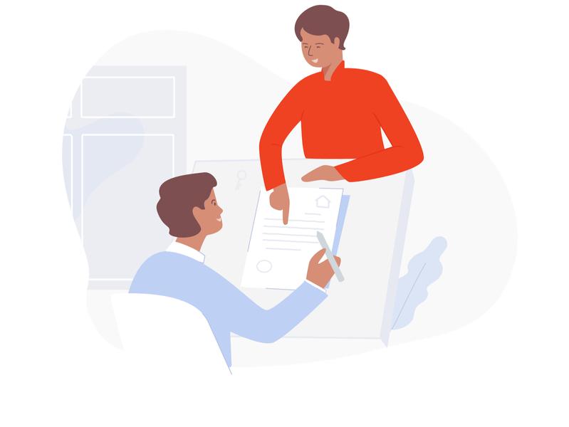 OYO Partner: Settle On An Agreement partnership partner business business subtle strokes drawing owner digital oyo ui illustration webui illustration art agreement partner illustration