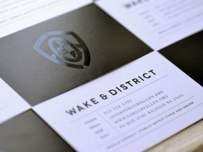 Wake & District  business cards spot uv logo design tribute bagpipe band