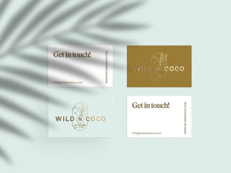 Wild & Coco Branding visual design branding design illustration embossing gold foil coconut logotype logo design logo collateral business card visual identity zen yoga branding