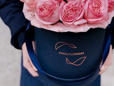 Cool Flowers - Flower Boxes logotype visual design flower shop branding packaging copper foil hot foil