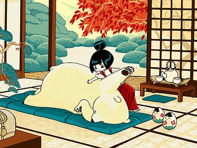 Rehn Shiatsu bear tatami japan massage illustration