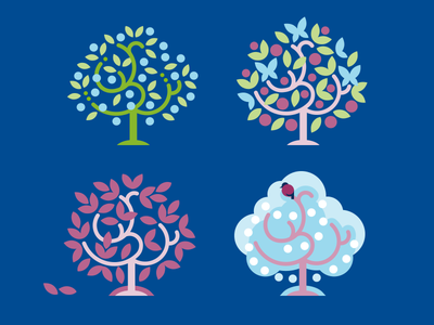 Tree seasons illustration winter autumn summer spring icon vector tree seasons