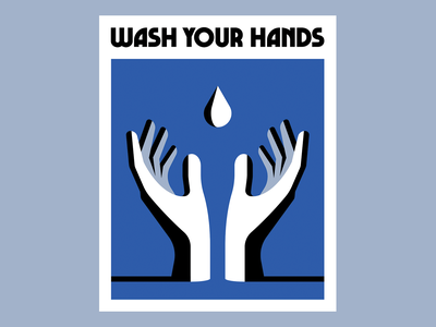 Wash Your Hands hands vector illustration poster