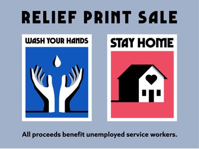 Relief Print Sale covid-19 coronavirus benefit relief wash your hands print