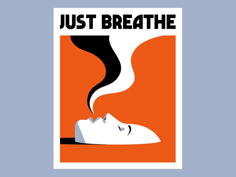 Just Breathe breath lady fear anxiety mental health poster vector coronavirus covid-19 illustration