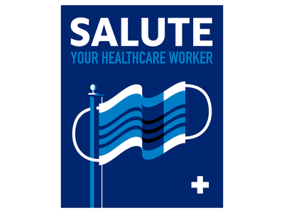 Salute Your Healthcare Worker vector covid19 flag mask poster