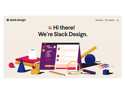 Slack Design hero image magnifying glass pantone pencil books coffee duck messaging vector hero image illustration slack