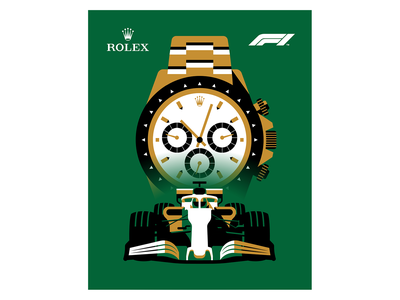Rolex x Formula 1 poster racecar watch vector illustration vector monaco formula1 rolex