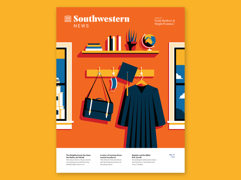 Southwestern News // July cover illustration covid19 university graduation cap magazine cover vector illustration