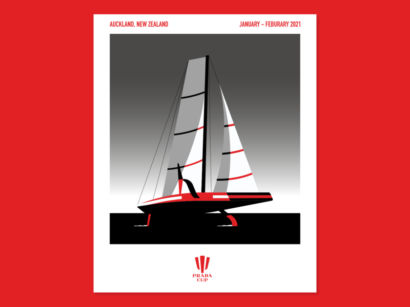Prada Cup poster poster prada sailing illustration vector