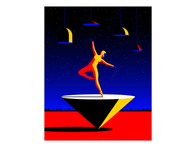 Balance surrealism ballet dancer vector illustration