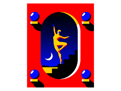 Dream Charade fantasy ballet dancer ballerina surrealism illustration vector