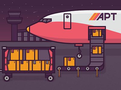 Ubuntu and Debian Tutorial illustration plane conveyor airport boxes ubuntu debian conveyor belt vector