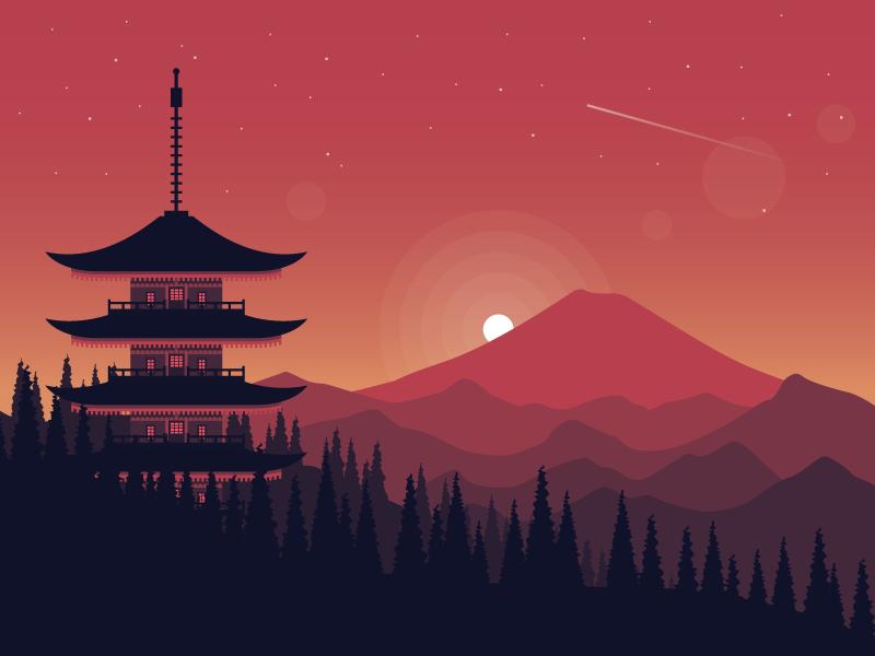 Pagoda mountains trees shooting star stars landscape mountain illustration vector pagoda