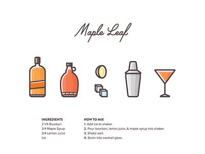 Maple Leaf 2 illustration icon vector shaker lemon ice mixology maple syrup syrup maple leaf cocktail