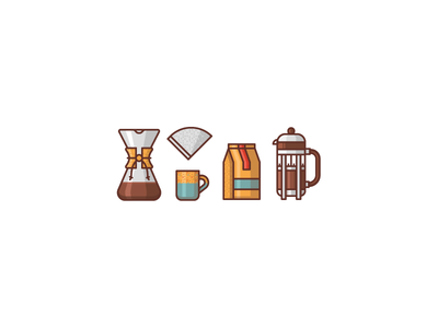 Coffee icons WIP icon set icons illustration french press coffee coffee mug filter chemex