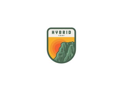 Hybrid Conf badge sunrise illustration hybrid conf conference dublin ireland patch badge