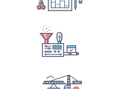 Features icons illustration sun crane machine bulb eraser pencil scissors calendar timekit features