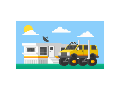 Stereotype  clouds sun vector illustration satellite astro truck vehicle monster truck van trailer stereotype