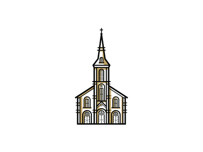 Cathedral window door shadows building church vector illustration cathedral