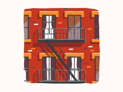 Fire Escape city brick balcony windows illustration procreate fire escape