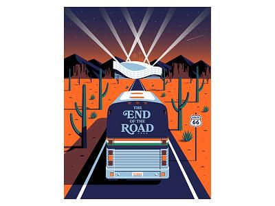 The End of the Road // British GQ sunset editorial illustration stadium cactus west route 66 desert bus tour