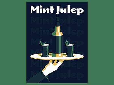 Mint Julep hand illustration alcohol drink poster whiskey bourbon mint julep