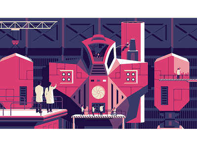 Design Ops Handbook cover industrial illustration future sci-fi character robot invision