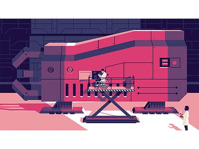 Ch 2 Design Ops Handbook vector illustration team work sci fi build machine coffee wheelchair robot