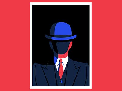 Hidden in Plain Sight vector character bowler hat suit man art illustration