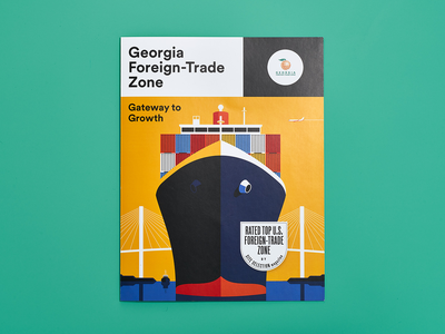 Georgia Foreign Trade cover illustration vector bridge container ship print illustration cover