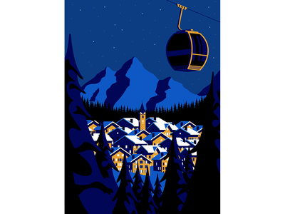 Alps vector swiss french print mountain night skiing trees winter illustration alps