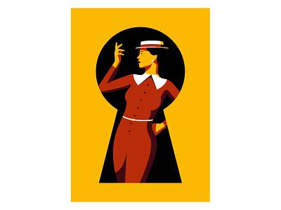 Fashionably Late vector dress key woman vogue fashion illustration