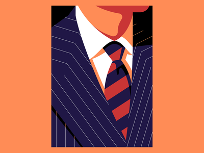 Pin Stripes person illustration tie bespoke vector suit fashion man