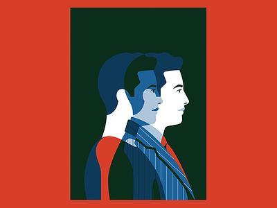 Richemont Group cover illustration character men suit illustration vector