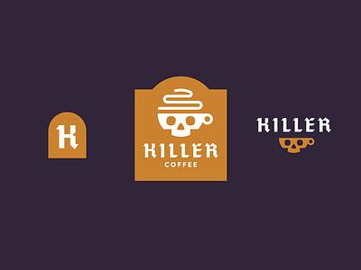 killer coffee branding lockup steam skull coffee logo