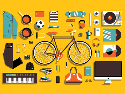 Double page illustration for Cord Magazine camera shoes record player headphones vinyl computer keyboard bike vector illustration